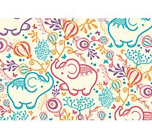 Elephants with bouquets pattern Photographic Print