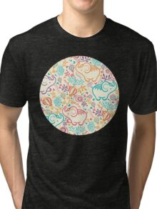 Elephants with bouquets pattern Tri-blend T-Shirt
