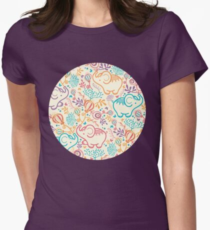 Elephants with bouquets pattern Womens Fitted T-Shirt