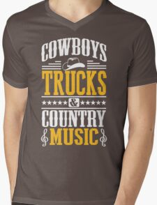 Cowboys, trucks & country music Mens V-Neck T-Shirt