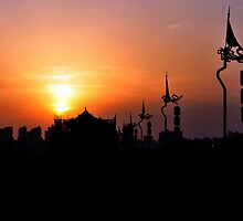 Xi'an Sunset Taken From The City Wall. China.  by Ralph de Zilva