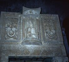 Rosettes on front of pulpit San Clemente Torre di Passeri 198404070012  by Fred Mitchell