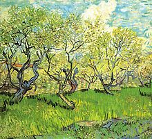 Orchard in Blossom. Vintage floral garden oil painting by Vincent van Gogh. by naturematters