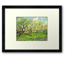 Orchard in Blossom. Vintage floral garden oil painting by Vincent van Gogh. Framed Print