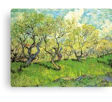 Orchard in Blossom. Vintage floral garden oil painting by Vincent van Gogh. Canvas Print