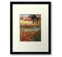 Flowering Garden. Vintage floral garden oil painting by Vincent van Gogh. Framed Print