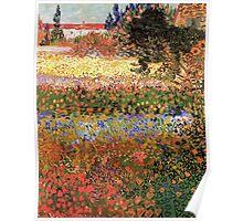 Flowering Garden. Vintage floral garden oil painting by Vincent van Gogh. Poster
