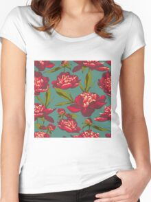 floral background with peonies  Women's Fitted Scoop T-Shirt
