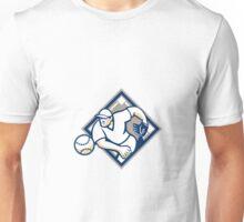 Baseball Pitcher Throwing Ball Diamond Unisex T-Shirt