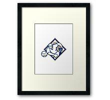 Baseball Pitcher Throwing Ball Diamond Framed Print