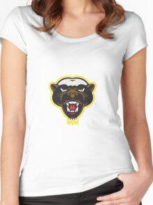 Honey Badger Mascot Head Women's Fitted Scoop T-Shirt