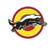 Honey Badger Mascot Leaping Circle by patrimonio