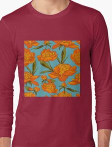 floral background with peonies  Long Sleeve T-Shirt
