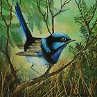 Superb Blue Wren By Maureen Warhust by TwoBaysArtGroup