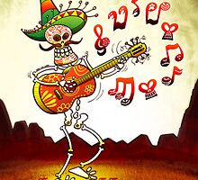 Mexican Skeleton Playing Guitar by Zoo-co