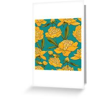 floral background with peonies  Greeting Card