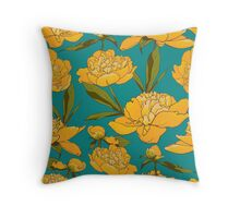 floral background with peonies  Throw Pillow