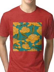 floral background with peonies  Tri-blend T-Shirt