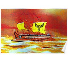 A digital painting of a 7th to the 4th century BCE Greek Trireme  Poster