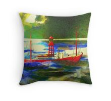 My digital painting of The South Goodwin Light Vessel Throw Pillow