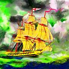 A digital painting of HMS Boreas, captain Horatio Nelson, in Stormy Weather by Dennis Melling