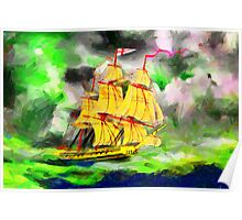 A digital painting of HMS Boreas, captain Horatio Nelson, in Stormy Weather Poster