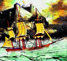 A digital painting of A 19th century Sailing Ship in Stormy weather by Dennis Melling