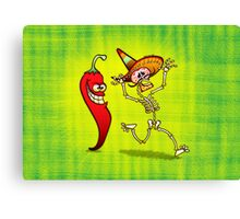 Hot Chili Pepper Nightmare for a Mexican Skeleton Canvas Print