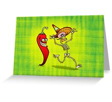 Hot Chili Pepper Nightmare for a Mexican Skeleton Greeting Card