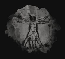 Vitruvian Man - Leonardo Da Vinci Tribute Art T Shirt by Denis Marsili