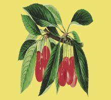 Red Cherries Vector on White Background Kids Tee