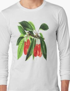 Red Cherries Vector on White Background Long Sleeve T-Shirt