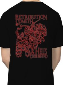 Four Horsemen of the Apocalypse, Durer, Retribution Cometh & Hell's Close behind! Biblical, red shadow on black Classic T-Shirt