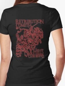 Four Horsemen of the Apocalypse, Durer, Retribution Cometh & Hell's Close behind! Biblical, red shadow on black Womens Fitted T-Shirt