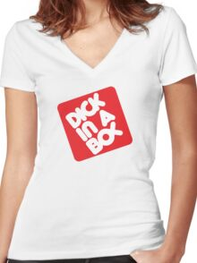 Dick in a Box Retro Women's Fitted V-Neck T-Shirt