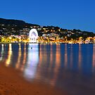 Beach at night in le lavandou  var cote d'azur provence, France by 7horses