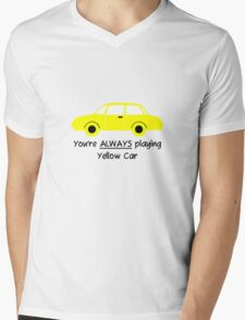 Yellow Car (Black Text) Mens V-Neck T-Shirt
