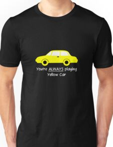 Yellow Car (White Text) Unisex T-Shirt
