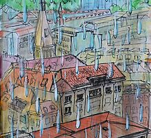 Watercolor Sketch - Genève, Saint-François from Champel on a Rainy Day by Igor Pozdnyakov