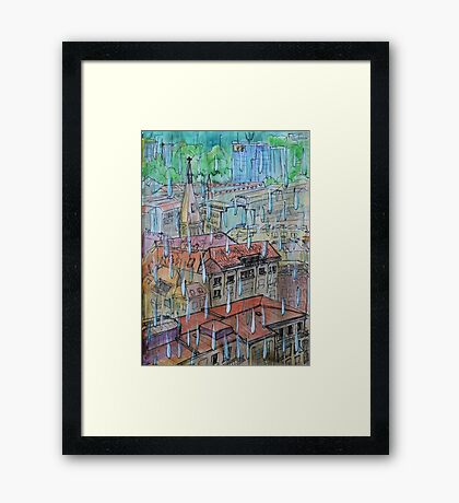 Watercolor Sketch - Genève, Saint-François from Champel on a Rainy Day Framed Print