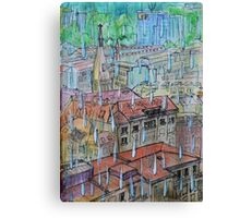 Watercolor Sketch - Genève, Saint-François from Champel on a Rainy Day Canvas Print