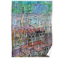 Watercolor Sketch - Genève, Saint-François from Champel on a Rainy Day Poster