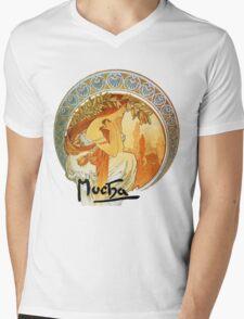 Mucha – Poetry Mens V-Neck T-Shirt