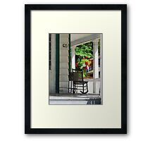 Suburbs - Porch With Rocking Chair and Geraniums Framed Print