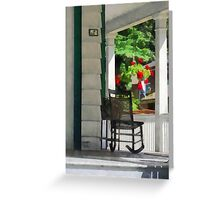Suburbs - Porch With Rocking Chair and Geraniums Greeting Card