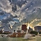 Chicago's Buckingham Fountain surrounded by pretty clouds by Sven Brogren