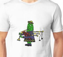 Cool Funny McDill Pickle Playing Bagpipes Unisex T-Shirt