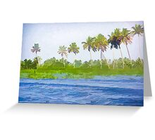 Water rippling in the coastal lagoon due to the boat Greeting Card