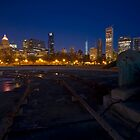 Wintry night scene in Buckingham Fountain by Sven Brogren