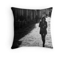 Girl walking Throw Pillow